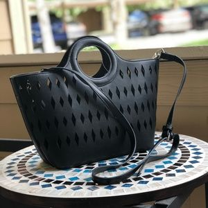 FREE PEOPLE FAUX BLACK LEATHER DIAMOND CUT TOTE